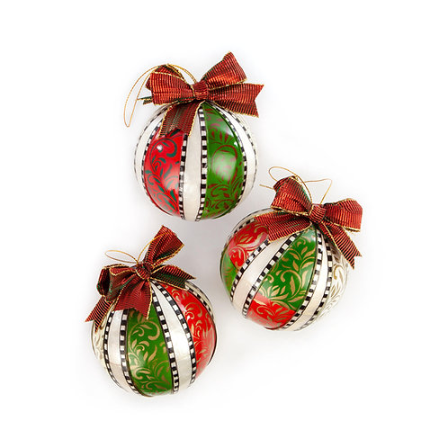 Merry & Bright Ball Ornaments - Set of 3