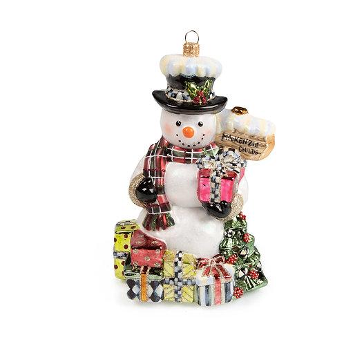 Glass Ornament - Greeter Snowman