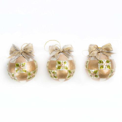 Gold pinecone balls - small - set of 3