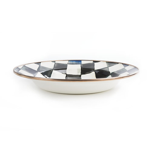 courtly check enamel rimmed dish