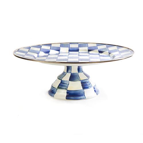 royal check pedestal platter - large