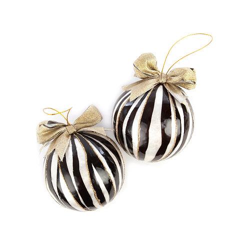 Zebra Capiz Ball Ornaments - Set of 2