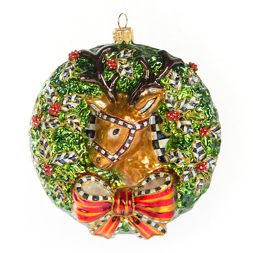 Glass Ornament - 2019 Deer Wreath