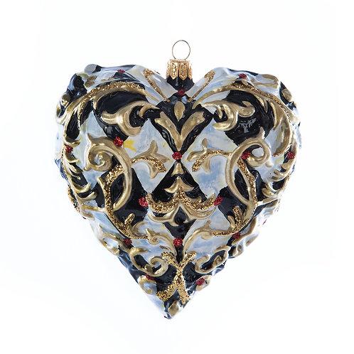 Glass Ornament - Golden Hour Filigree Heart