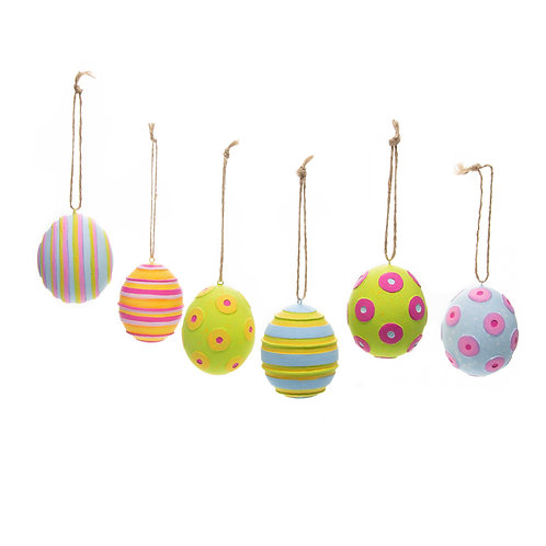 Patience Brewster Technicolour Eggs - Set of 6 - Stripes