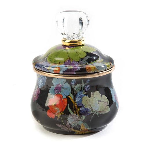 Flower Market Lidded Sugar Bowl - Black