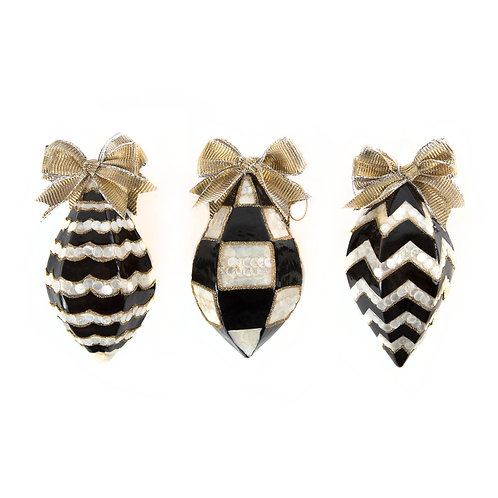 Black and White Teardrop Ornaments - Set of 3
