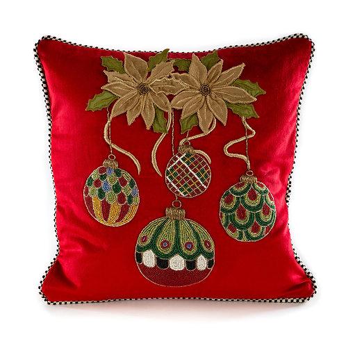 Merriment Ornament Pillow - Red