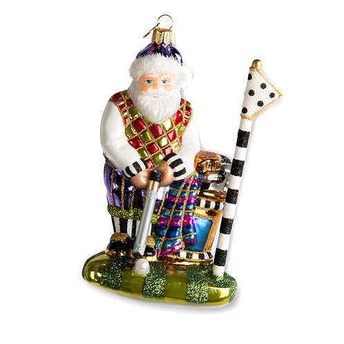 Glass ornament - on the green santa