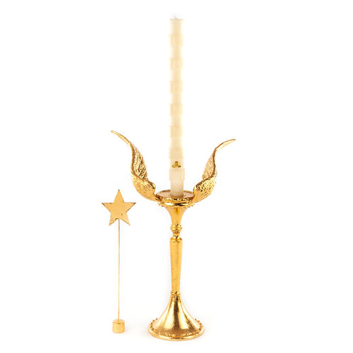 Patience Brewster Golden Angel Wing Candle Holder - Tall