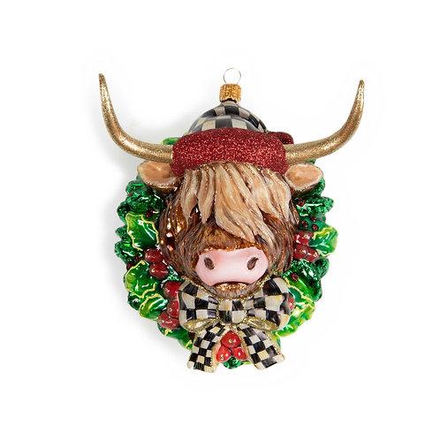 Glass Ornament - Highland Cow Wreath