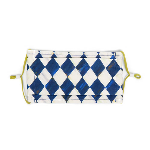 Royal Check Harlequin Face Mask - Pleated