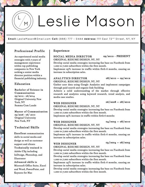 best visual resume templates free download audio video word