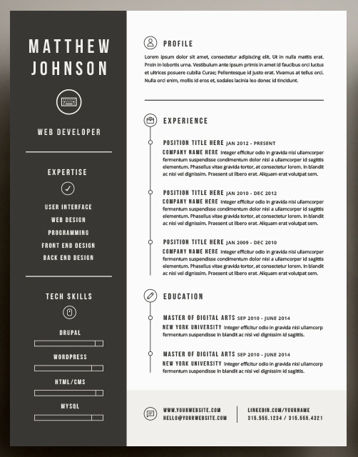 Beautiful Resume Inspiration to take into 2016 | Resume Vogue ...