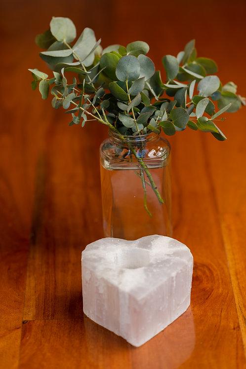 Selenite Heart Tealight Candle Holder