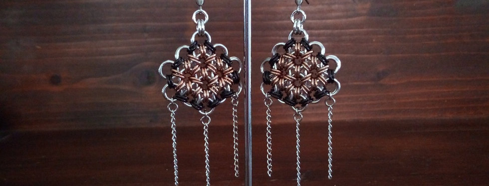 'Mandala & Chain'  Earrings