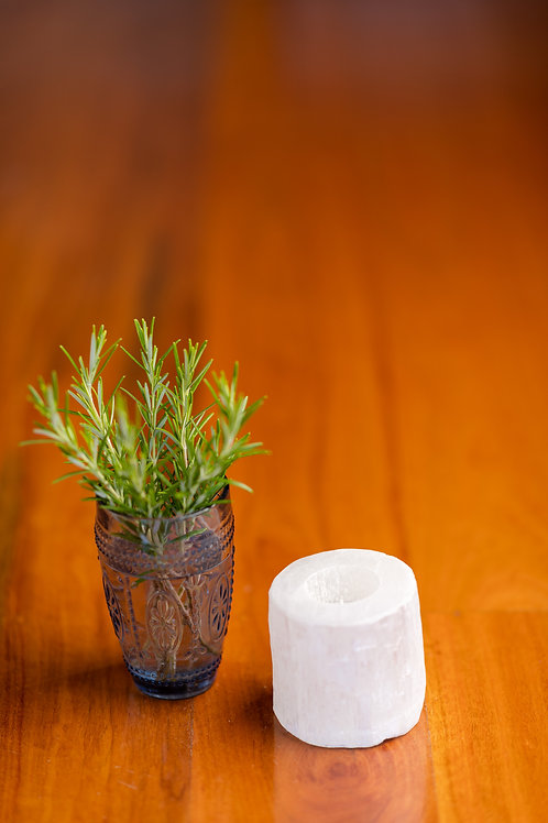 Selenite Tealight Candle Holder Single