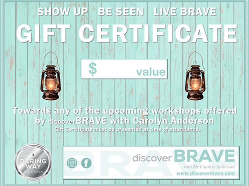discoverBRAVE Gift Certificate