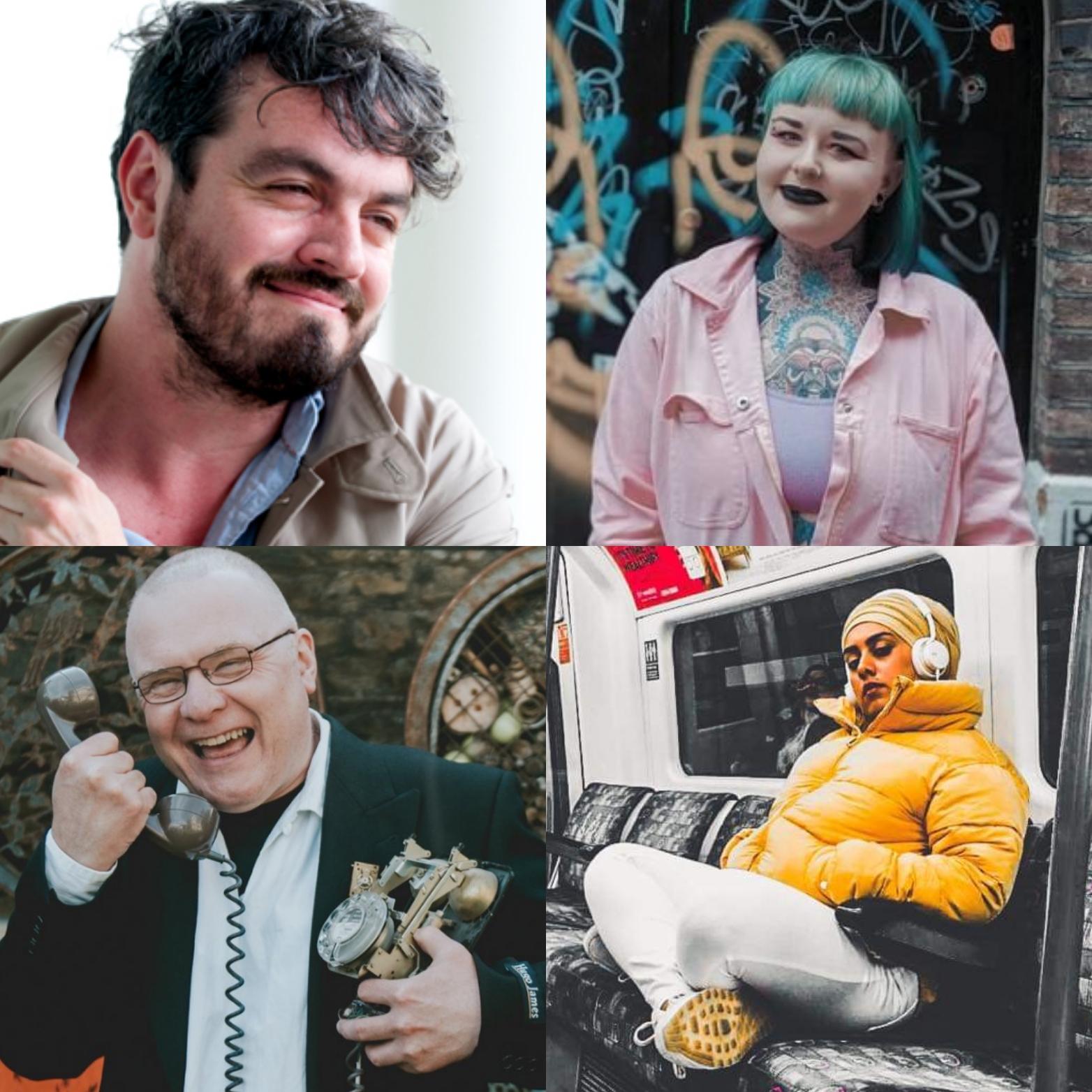 Poets Hana Sayeed, Pete Cox, Ross Sutherland and  Charley Genever