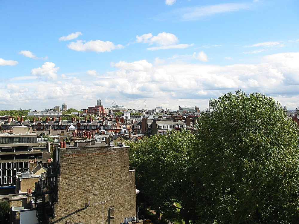 The view over London from Kensington Roof Garden