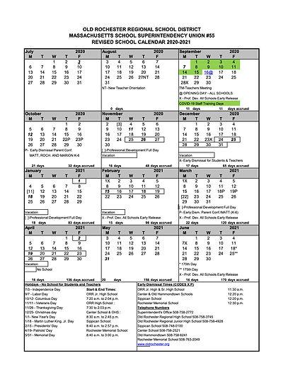 2020/2021 District Calendar