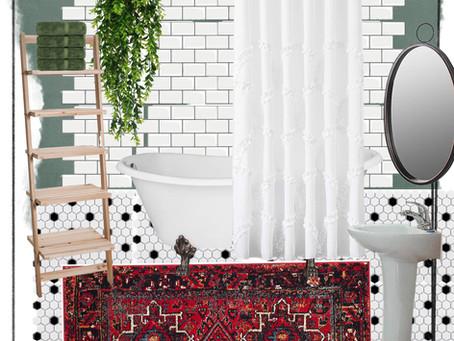 Simple Boho Apartment Bathroom
