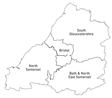 Map of Bristol, South Gloucestershire, Bath & North East Somerset, and North Somerset. Area around Bristol is circled.