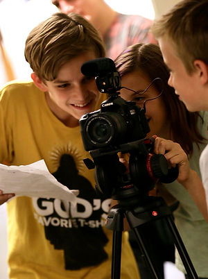 Camp students film a scene
