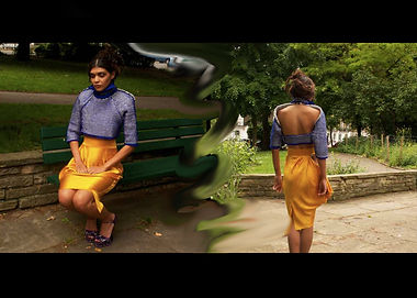 O book indigo tuck jumper orange skirt A