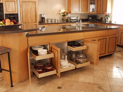 oganized kitchen, sliding susan base unit