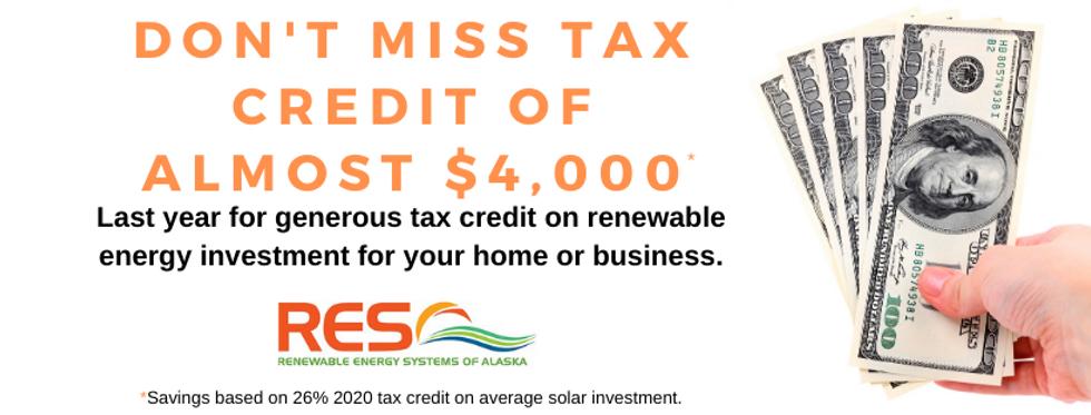 RES Credit 26% 2020 solar financing alaska renewable