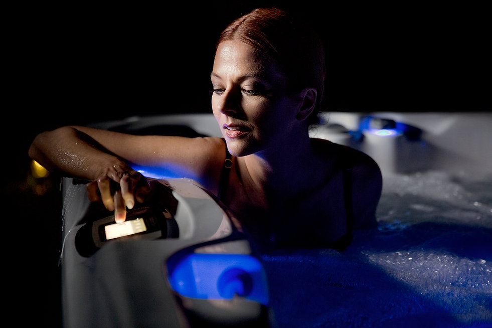 woman in hot tub, clear ray, UV clean hot tub