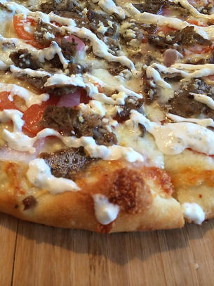 Gyro flatbread at College Town  Pizzeria, fairbanks pizza, lamb, gyro, pizza4less