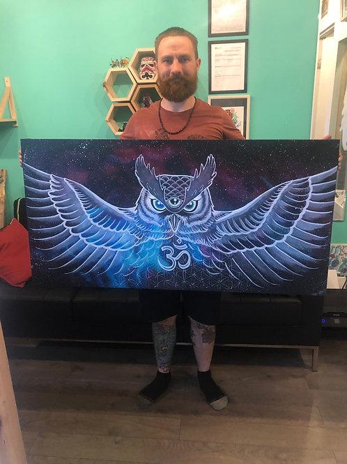 Ohm Owl - Original Canvas by Honu Tattoo Company