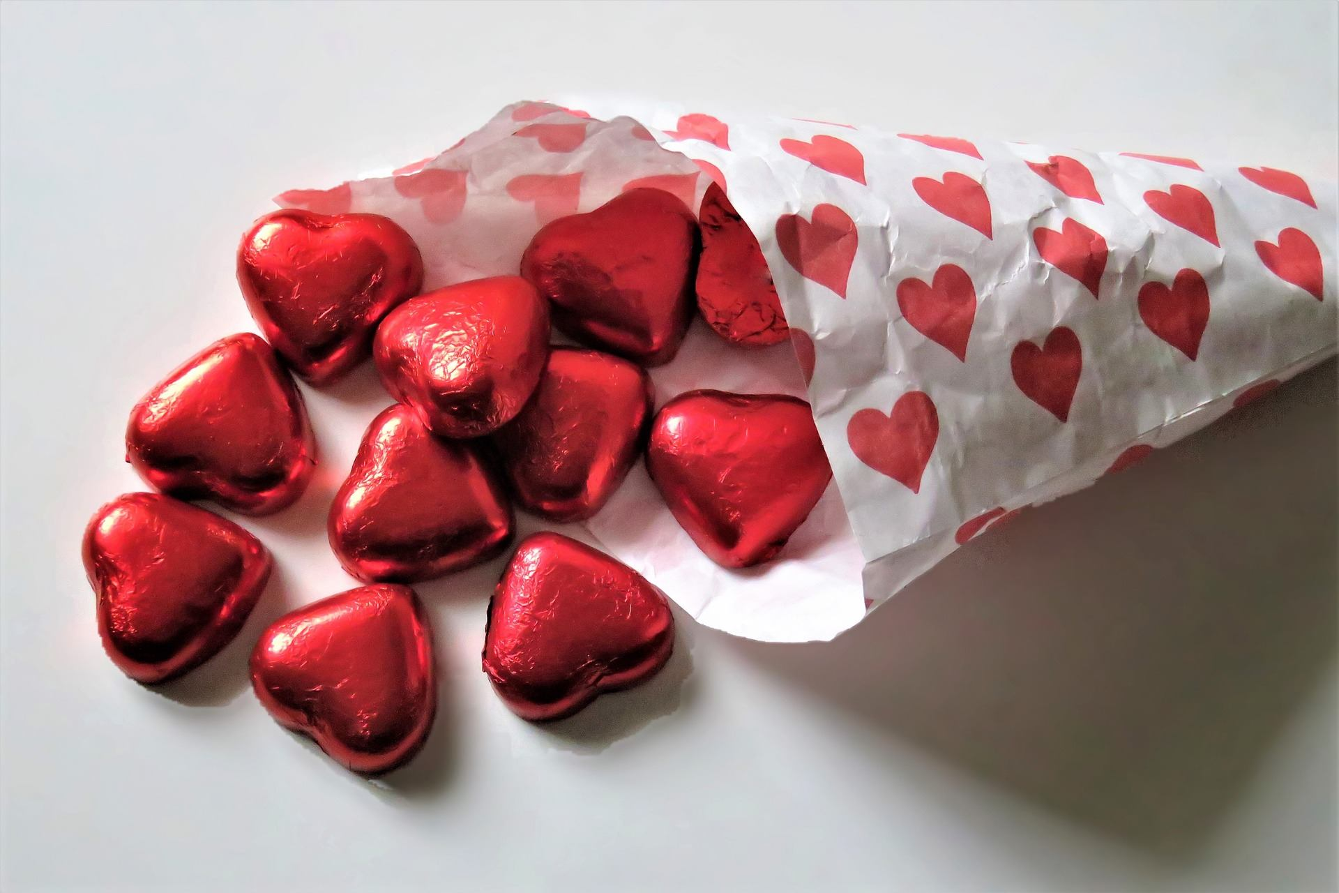 Chocolate Hearts in foil
