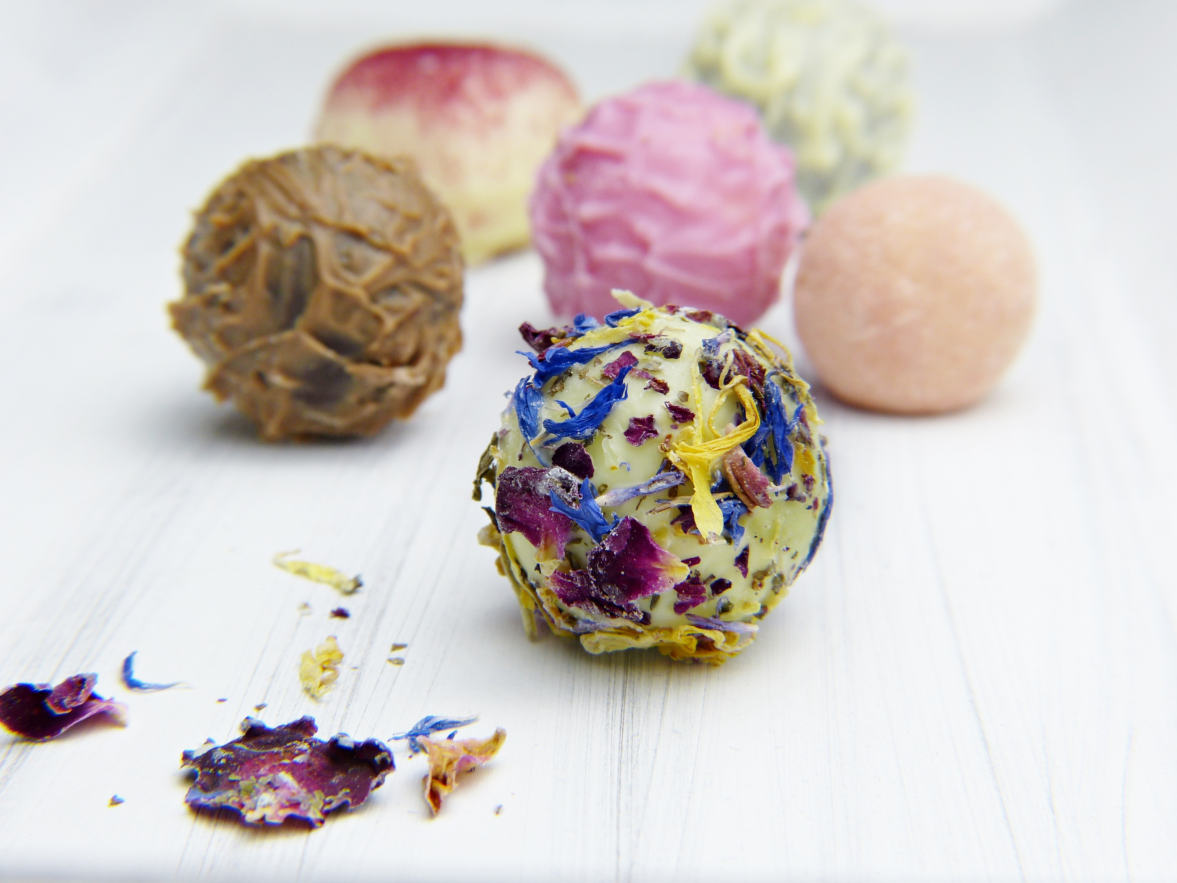 Floral chocolate truffles