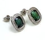 Aretes con gemas y diamantes