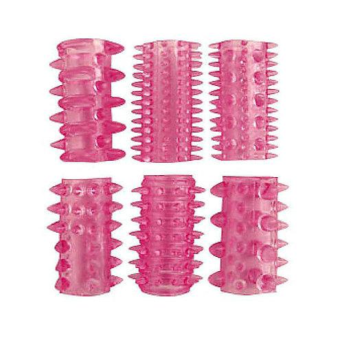 Набор насадок для пениса с шипами Erowoman-Eroman 6 шт., розовый