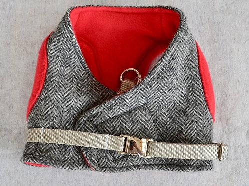 Dog Harness - Tweed and Red Fleece