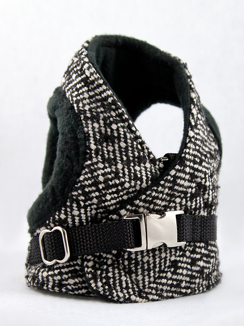 Dog Harness - Tweed B&W