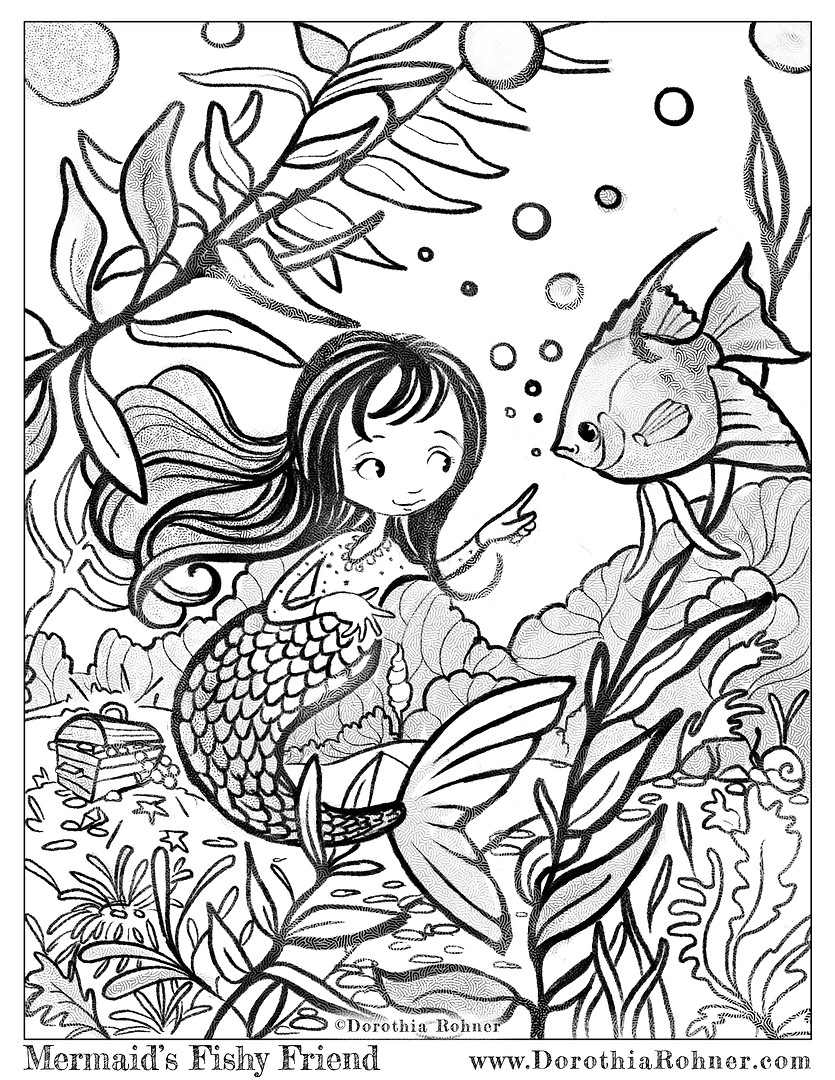 Mermaid's Fishy Friend Coloring Page