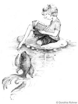 A boy, a book and a big fish.