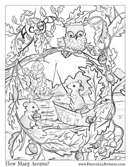 How Many Acorns? Coloring Page