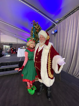 Santa & Peppermint Elf at a Company Chri