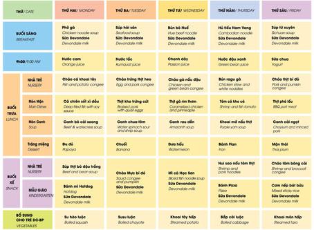 Thực đơn dinh dưỡng từ 17 đến 21 tháng 12/2018
