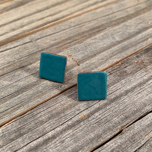 Teal Square Studs