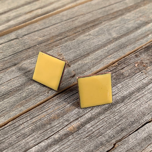 Yellow Square Studs