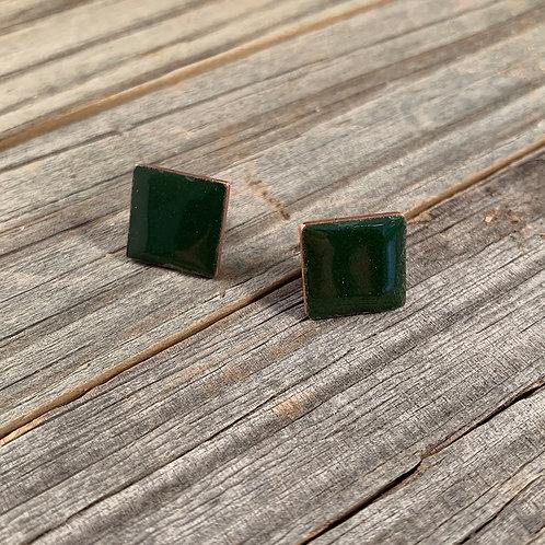 Green Square Studs