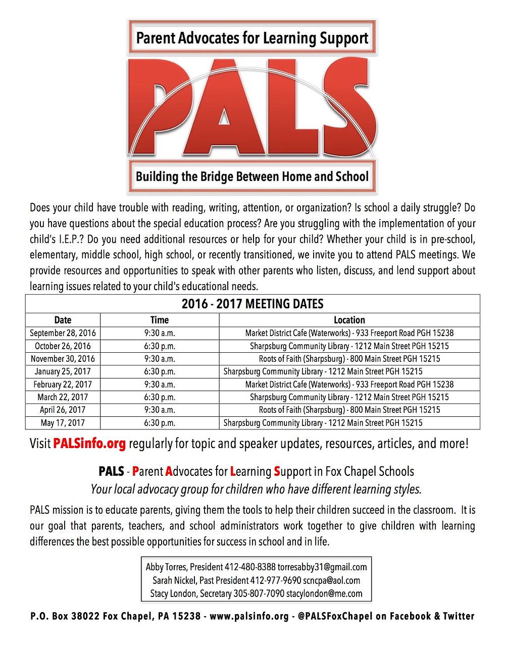 PALS 2016-2017 Meeting Schedule