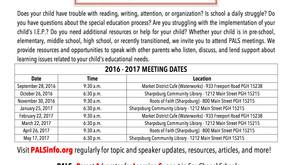 2016 -2017 PALS Meeting Schedule
